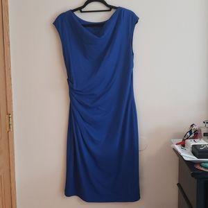 Lafayette 148 Blue Side Rouching Stretch Dress